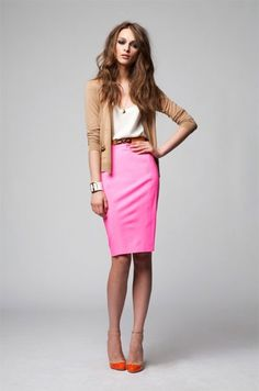 Pink neon pencil skirt, white tee, neutral brown cardigan.