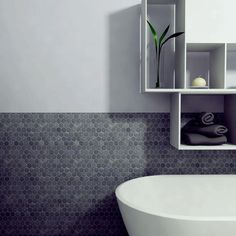 Merola Tile Crag Hexagon Black 11-1/8 in. x 11-1/8 in. Slate Mosaic Floor and Wall Tile-GDXCHXB at The Home Depot