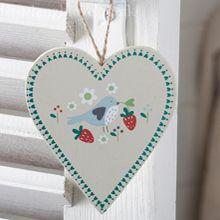 Summer Garden Wooden Hanging Heart - Blue Bird