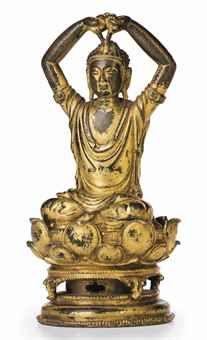 A VERY RARE GILT-BRONZE FIGURE OF BUDDHA