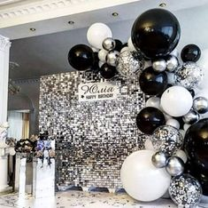 18th Birthday Party Themes, Birthday Goals, Birthday Balloon Decorations, Birthday Balloons, Disco Party Decorations, Sequin Wall, All Black Party, Wedding, Drunk Barbie Cake