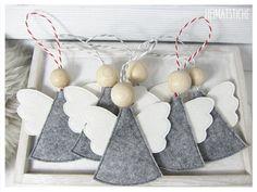 Clay Christmas Decorations, Felt Christmas Ornaments, Christmas Angels, Christmas Projects, Felt Crafts, Holiday Crafts, Christmas Time, Simple Christmas, Handmade Christmas