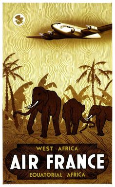 VINTAGE TRAVEL POSTER AIR FRANCE WEST AFRICA This is a current print which has been digitally edited and restored. The original ad was illustrated in 1946 by Guerra. WORLDWIDE EXPRESS SHIPPING!! All orders require 1 Business day for processing and ship via Express Delivery.