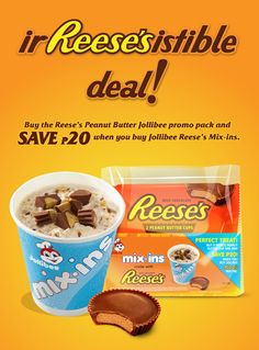 Reese_s_Mix-Ins_promo_poster Jollibee, Reeses Peanut Butter, Treats, Chocolate, Poster, Healthy Life, Sweet Like Candy, Goodies, Schokolade