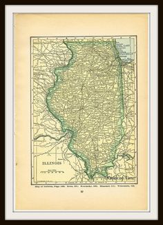 Antique Vintage Map ILLINOIS & INDIANA 1927 Map by KnickofTime, $9.00