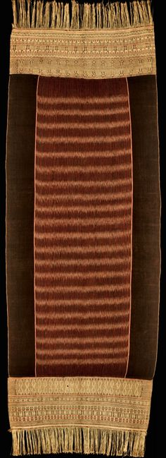 Handspun cotton shawl ( ulos) - Ikat from Batak, North Sumatra, Indonesia. This Ulos called Ragi Hidup (The parttern of life)