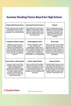 This 9 reading activities choice board is for high school students to actively engage with their reading over the summer. Reading Resources, Reading Activities, Reading Skills, Summer Activities, Teacher Resources, High School Reading, Summer Reading Lists, Autobiography Project, Free Verse Poems