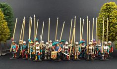 "28mm Warlord Games ~ (Pro-Gloria) Landsknechts Pikes, Lets say a significantly ""Brighter Style palette"" than usual.... (Trial) Basing to be completed by Client."