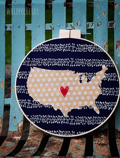 Heartland Wall Art from WhipperBerry using your Silhouette :: Cut fabric like a pro with your Silhouette Fabric Wall Art, Diy Wall Art, Silhouette Machine, Silhouette City, Crafty Craft, Crafting, Craft Room Decor, Homemade Art, Diy Gifts For Friends
