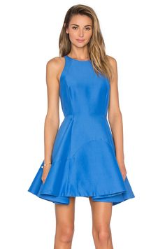 Halston Heritage High Neck Dress in Light Cobalt