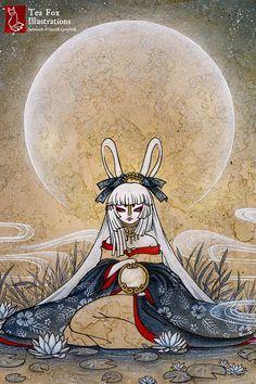 Reflect / Moon Rabbit Bunny Yokai Girl / by TeaFoxIllustrations, $6.00