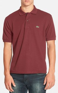 Lacoste burgundy men's polo shirt