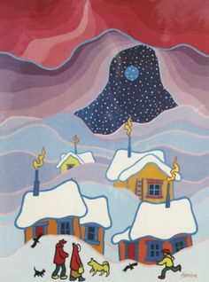 Ted Harrison - Alaska Snowfall Canadian Painters, Canadian Artists, Naive, Yarn Painting, Winter Art Projects, Van Gogh Art, Indigenous Art, Ted, Native Art