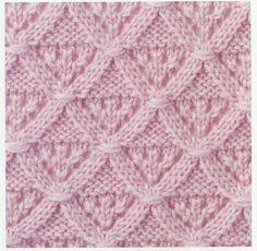 Lace Knitting Stitch #35 | Lace Knitting Stitches (Puntos envueltos: pasar puntos marcados de la aguja izquierda a la aguja auxiliar, envolverlos con la hebra de trabajo, pasarlos a la aguja derecha) Lace Knitting Stitches, Crochet Stitches Patterns, Knitting Charts, Crochet Chart, Knitting Designs, Stitch Patterns, Knitting Needles, Garter Stitch, Knits