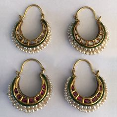 A Pair of Diamond and Ruby Earrings, North India Century Kids Gold Jewellery, Real Gold Jewelry, Diamond Earrings Indian, Ruby Earrings, Diamond Bangle, Indian Wedding Jewelry, Indian Jewelry, Amrapali Jewellery, Traditional Earrings