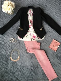Baby pink jeans, floral top and black blazer outfit  https://delphilosophie.com/2017/02/21/baby-pink-spring-inspiration/