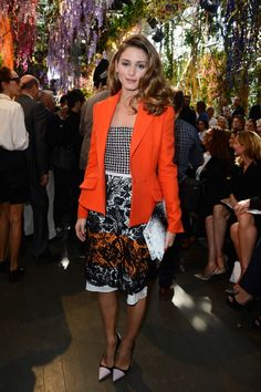 Olivia Palermo wearing Christian Dior Fall 2013 Houndstooth dress Christian Dior spring 2014 Show September 27 2013