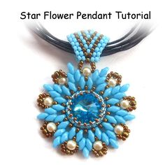 Star Flower Rivoli Pendant with Super Duo Beads Tutorial - Pdf Format. £3.50, via Etsy.