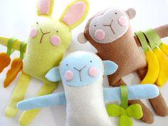 Bunny Sheep & Monkey Felt Softies Sewing por preciouspatterns