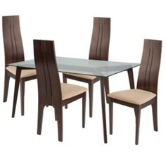 Flash Furniture Rialto 5 Piece Walnut Wood Dining Table Set with Glass Top and Curved Slat Keyhole Back Wood Dining Chairs - Padded Seats Clear/Walnut/Beechwood Glass Top Dining Table, Kitchen Dining Sets, 5 Piece Dining Set, Dining Room Sets, Dining Room Furniture Sets, Bar Furniture, Dining Chairs, Compact Table And Chairs, Table And Chair Sets