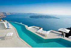 Hotel and Resorts Architecture. The Amazing Grace Santorini Hotel With Gorgeous Ocean View. Grace Santorini Hotel Wide Lounge Sunbathing Area And Zig Zag Infinity Pool. Santorini Honeymoon, Santorini Hotels, Santorini Island, Santorini Greece, Crete Greece, Athens Greece, Santorini Travel, Most Romantic Places, Exotic Places
