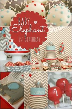 Baby Elephant First Birthday Ideas. Loving the chevron and stripes!