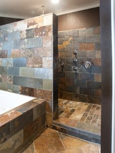 Love the slate tile and no glass door to keep clean!
