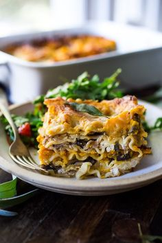 Butternut Lasagna with Wild Mushrooms and Sage- a delicious vegetarian or vegan main dish, perfect for the holiday table! Can be made ahead! Vegan Dinner Recipes, Vegan Dinners, Whole Food Recipes, Vegetarian Recipes, Cooking Recipes, Healthy Recipes, Vegetarian Cooking, Pasta Recipes, Sage Recipes