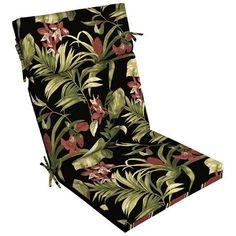 Garden Treasures Ebony Tropical Chair Cushion