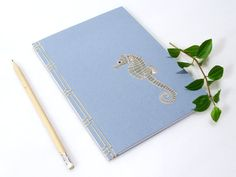 Seahorse Journal. Embroidered Notebook. by FabulousCatPapers