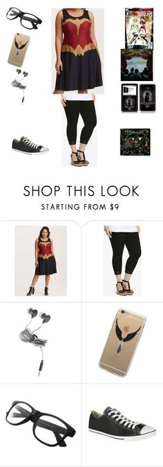 """Two Weeks Left"" by chrissy-cdm ❤ liked on Polyvore featuring Torrid, Hot Topic and Converse"