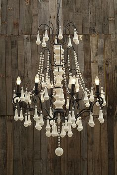 Iron 6 Light Chandelier with Wood Beads