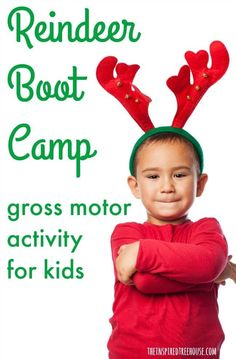 Reindeer Boot Camp: 6 Holiday Gross Motor Activities for Kids The Inspired Treehouse - These holiday gross motor activities for kids are perfect for a classroom holiday party or just to keep kids moving inside on a cold, snowy day! Pe Activities, Holiday Activities For Kids, Gross Motor Activities, Christmas Activities For Kids, Physical Activities, Physical Education, Physical Therapy, Occupational Therapy, Health Education