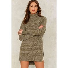 Off Campus Turtleneck Sweater ($62) ❤ liked on Polyvore featuring tops, sweaters, green, turtle neck sweater, oversized chunky knit sweater, oversized tops, brown turtleneck and turtleneck sweater