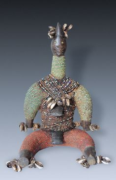 A beaded Power-Figure, doll, fertility-figure, tribe of the Namji-people, Cameroon.