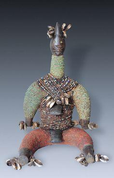 A beaded Power-Figure, doll, fertility-figure, tribe of the Namji people, Cameroon.