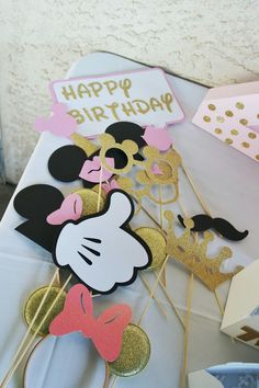 Pink and gold minnie mouse birthday props photo booth diy glitter