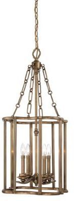 Metropolitan® Leicester 4-Light Pendant in Aged Brass