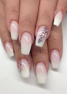 #frenchnails #beautiful #perfect #nails #swarovski #ombre #beautiful #fanzis by @baggesnaglar