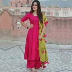 Buy an Rani Pink Silk Salwar Suit from Vastrova- an Ethnic clothing brand for women for various occasions with cash on delivery facility all over India Salwar Designs, Blouse Designs, Pakistani Outfits, Indian Outfits, Ethnic Outfits, Fashion Designer, Designer Dresses, Designer Clothing, Indian Attire