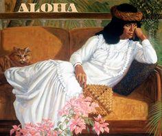"On The Veranda by Herbert ""Herb"" Kawainui Kāne (June 1928 – March Polynesian Art, Hawaiian Art, Exotic Art, Beauty Art, Crazy Cats, Cat Art, Female Art, Cover Art, Art Gallery"