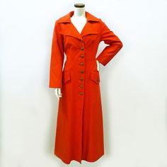 60s Long Coat Orange now featured on Fab.