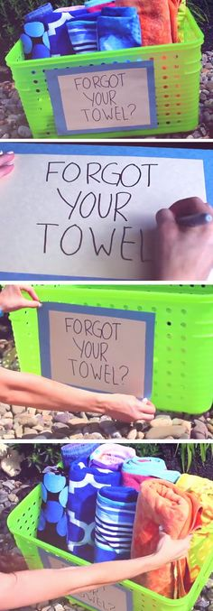 Spare Towel Basket   DIY Pool Party Ideas for Teens