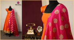 Classy outfit from Mugdha art studio...!!Orange anarkali with pink banaras dhupatta...Grab it soon...!!Code : MA - 83 For orders /enquiries-Wats app - 9010906544Contact - 9949047889/040 65550855Email- mugdha410@gmail.com 08 September 2016 Anarkali Dress, Anarkali Suits, White Anarkali, Indian Ethnic Wear, Indian Attire, Indian Dresses, Indian Outfits, Indian Clothes, Orange Dress