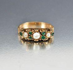 Antique Victorian 14K Gold Pearl Emerald Ring – Boylerpf