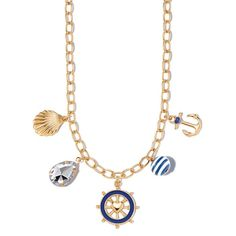 """Take #nautical to the next level! Adorable enamel-look charms and darling beads set in goldtone. Goldtone charm necklace with nautical themed enamel-look charms. Comes with a seashell charm, faceted teardrop charm, ship's wheel, beach ball, and an anchor. Necklace: 16 1/2"""" L with Lobster Claw clasp Extender: 3 1/2"""" L #jewelry"""