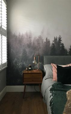 French Home Decor The Woodlands forest wallpaper by MuralsWallpaper has been styled here by Bambetle as part of a cosy, green and dark color bedroom look. We love the moody vibes and neutral palette! Great inspiration for your own bedroom decor. Forest Green Bedrooms, Bedroom Green, Room Ideas Bedroom, Dream Bedroom, Dark Cozy Bedroom, Woodsy Bedroom, Bedroom Decor Dark, Calm Bedroom, Wall Paper Bedroom