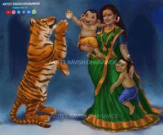 Image may contain: 3 people, text Lord Durga, Durga Kali, Shiva Hindu, Shri Ganesh, Ganesha Art, Shiva Shakti, Hindu Deities, Hindu Art, Hinduism