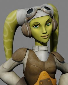 Hera Syndulla - She is a Twi'lek female, who owns and pilots the Ghost (a ship used in Star Wars Rebels for fighting the Empire). She is the mother-figure of the rebel crew, she holds the group together when they would otherwise fall apart. She is also said to be the daughter of Cham Syndulla a Twi'lek freedom fighter on Ryloth during the Clone Wars period.