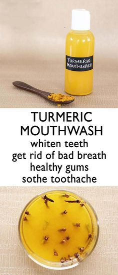 Natural Home Remedies TURMERIC MOUTHWASH - Making homemade mouthwash is super easy and you can use all natural ingredients that will benefit your overall dental health. Turmeric not only has full of health and beauty benefits but there are als Oral Health, Dental Health, Health Tips, Dental Care, Teeth Health, Natural Home Remedies, Natural Healing, Natural Life, Natural Living